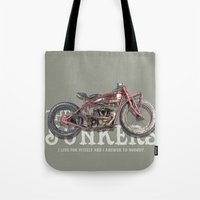 indian Tote Bags featuring Indian by The Junkers