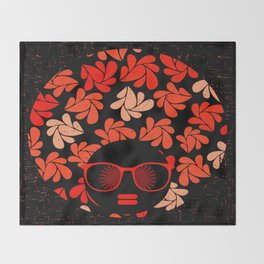 Afro Diva : Coral Red Throw Blanket