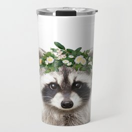 Baby Raccoon With Flower Crown, Baby Animals Art Print By Synplus Travel Mug