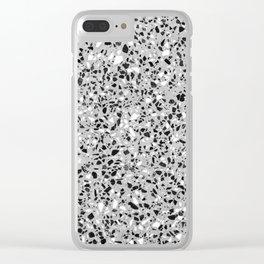 Black White Grey Monochrome Terrazzo Pattern Stone Speckles Effect Clear iPhone Case