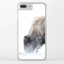 Bison grazing in a snowstorm Clear iPhone Case