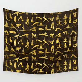 Gold Yoga Asanas / Poses pattern Wall Tapestry