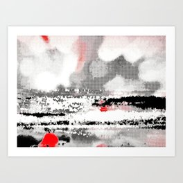 Abstract Seascape - Black, White, Red Art Print