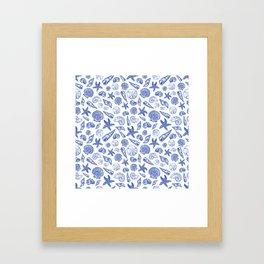 Blue Seashell Print Framed Art Print