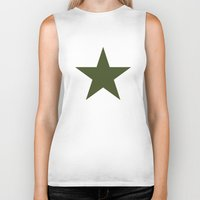 military Biker Tanks featuring Vintage U.S. Military Star by Be Sweet Studios