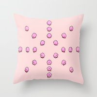 kirby Throw Pillows featuring Kirby by Slippytee Clothing
