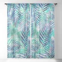 Palm Leaves - Indigo Green Sheer Curtain