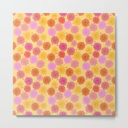 Hibiscus Hawaiian Flowers in Pinks and Corals on Yellow Metal Print