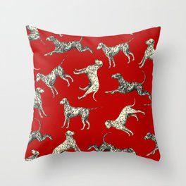 Dalmatian Dogs & Dark Red Throw Pillow