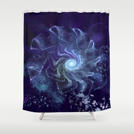 Midnight Lace Mixed Media Shower Curtain