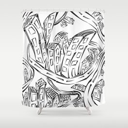 Entangled City Shower Curtain