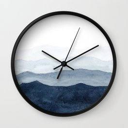Indigo Abstract Watercolor Mountains Wall Clock