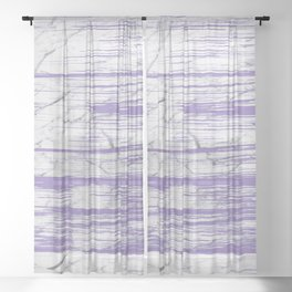 Modern abstract violet watercolor brushstrokes marble pattern Sheer Curtain
