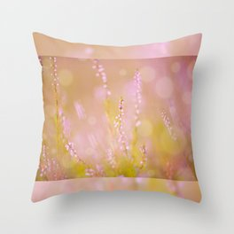 Subtle pink heather macro Throw Pillow