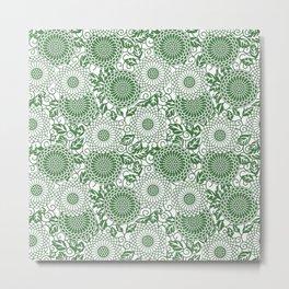 Green Floral Pattern Metal Print