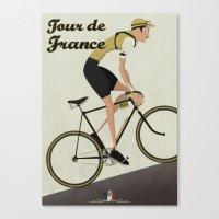 tour de france Canvas Prints featuring Tour De France by Wyatt Design