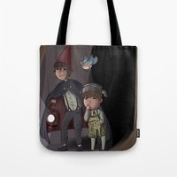over the garden wall Tote Bags featuring Over The Garden Wall by Dimension Bound