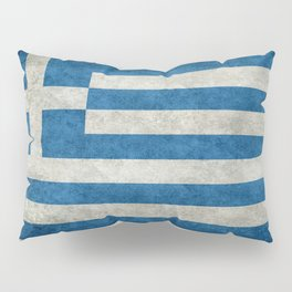 Flag of Greece, vintage retro style Pillow Sham