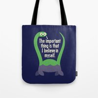 neil gaiman Tote Bags featuring Myth Understood by David Olenick