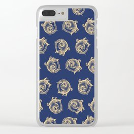 Royal Gator - Gold on Navy Clear iPhone Case