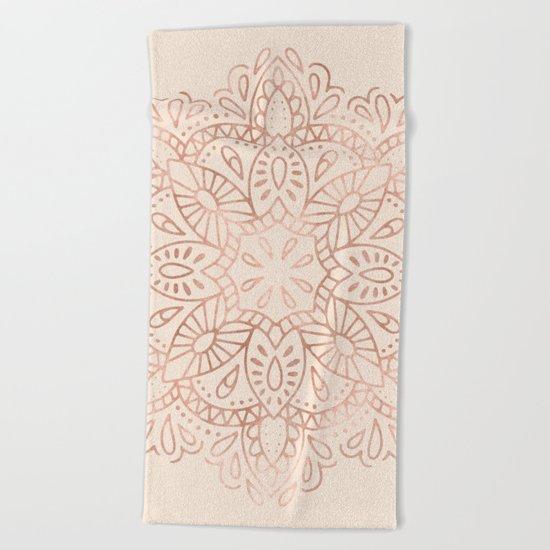Mandala Rose Gold Pink Shimmer on Light Cream Beach Towel