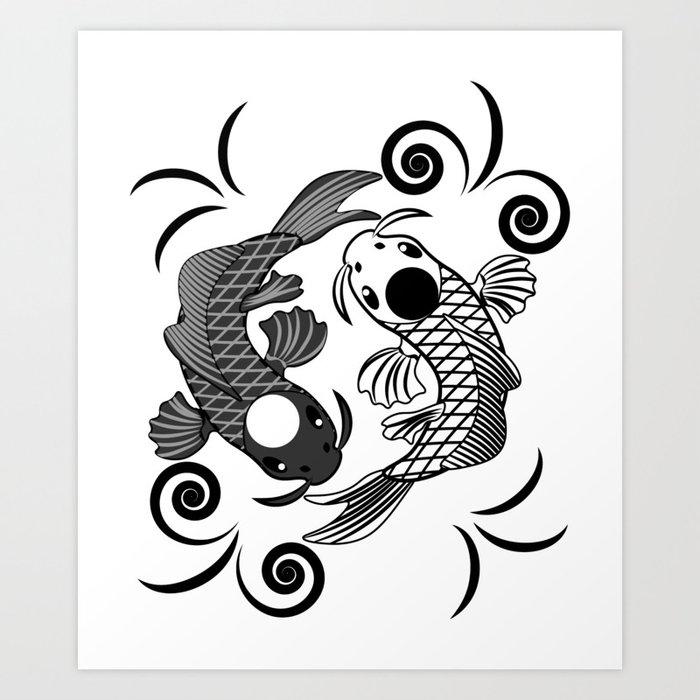 Koi Fish Karma Yin Yang Fate Spiritual Gift Art Print By Niceteee Society6