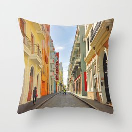 Streets of Old San Juan Throw Pillow