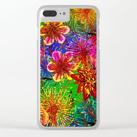 Tropical Heat-Colorful Floral Exotic Tropical Flower Pattern Clear iPhone Case