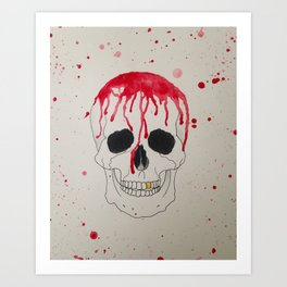Blood Soaked Skull Art Print
