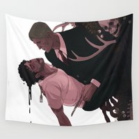 vegetarian Wall Tapestries featuring Nothing Here is Vegetarian  by Sara Kipin