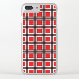 Red Plaid Pattern Clear iPhone Case
