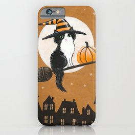 Black and White Witch Cat iPhone Case