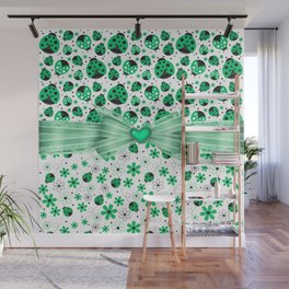 Green Ladybugs and Green Flowers Wall Mural