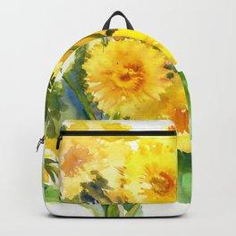 Dandelion Flowers, Herbal, herbs, field flowers, yellow floral design Backpack