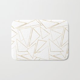 Modern Minimalist Gold White Strokes Triangles Bath Mat