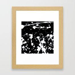 White and Black Abstract Paint Splatter on Black Canvas Framed Art Print