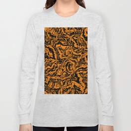 modern scramble, black and orange Long Sleeve T-shirt