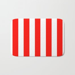 Candy apple red - solid color - white vertical lines pattern Bath Mat