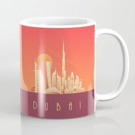 Dubai City Skyline Retro Art Deco Tourism - Sunset Coffee Mug