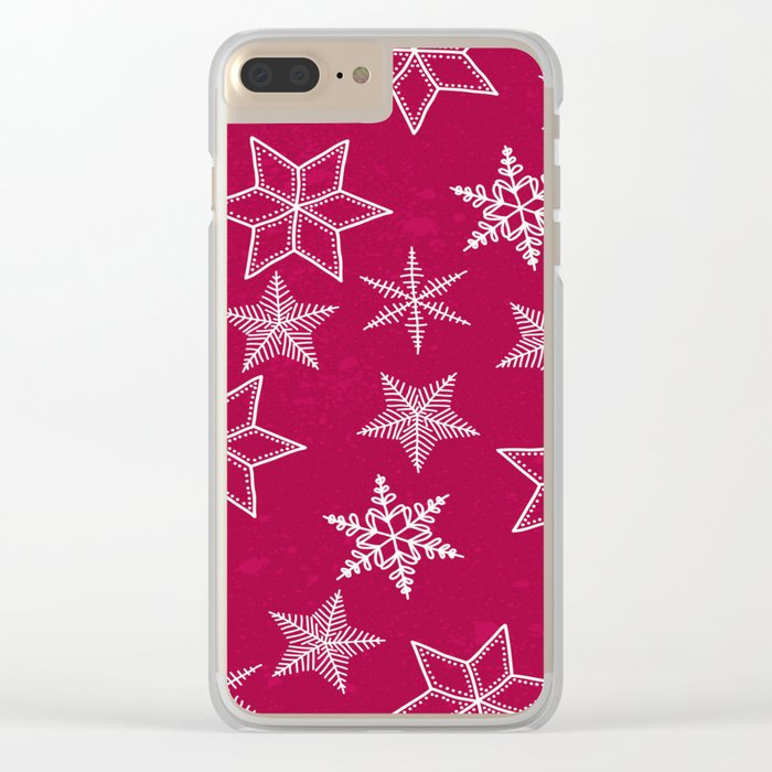 Snowflakes on red background Clear iPhone Case
