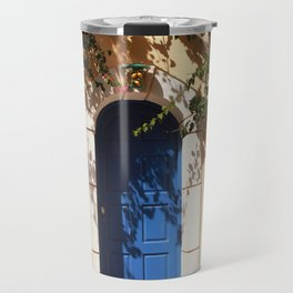 Santorini, Greece, countryside door, blue door Travel Mug