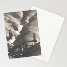 First Alpine Mountain snowfall of the season black and white photograph / photography by Rudolf Koppitz Stationery Cards
