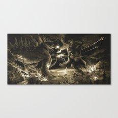 Godzilla vs Kingkong tan Canvas Print