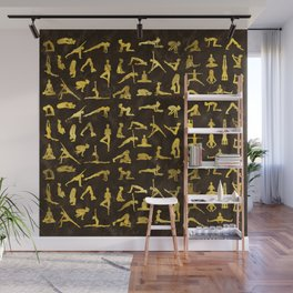 Gold Yoga Asanas / Poses pattern Wall Mural