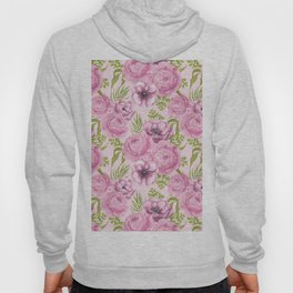 Peony and anemone flowers watercolor Hoody