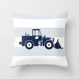 Navy Bulldozer Throw Pillow