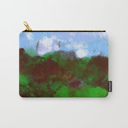 Nature landscape mountain vegetation blue sky clouds with birds flying illustration painting Carry-All Pouch
