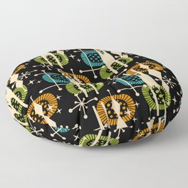 Retro Atomic Mid Century Pattern Black Orange Green and Turquoise Floor Pillow