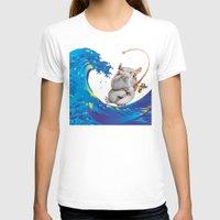 hokusai T-shirts featuring Hokusai Rainbow & Hippopotamus Fishing  by FACTORIE