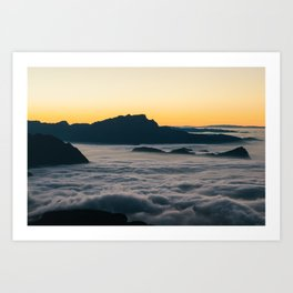 Cloudscape at sunset. View from Fronalpstock mountain peak towards Lucern, Switzerland Art Print